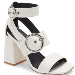 White Leather Buckled Block Heel Sandal